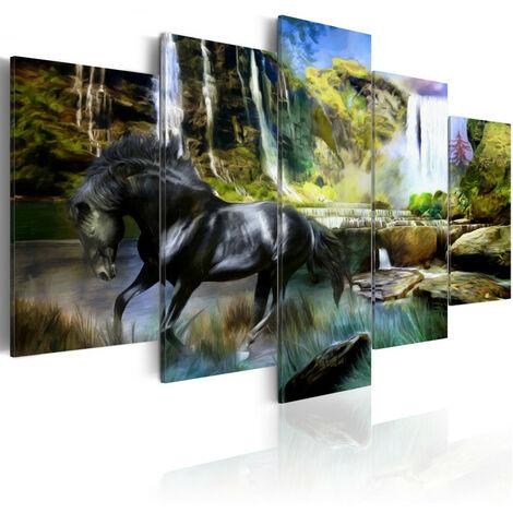Tableau - Cheval noir sur fond de Cascade Paradis 100x50