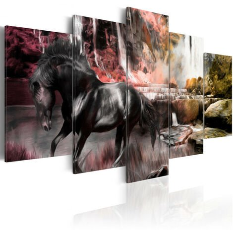 Tableau - Cheval noir sur fond de ciel cramoisi 100x50