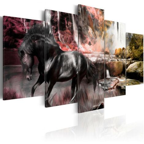 Tableau - Cheval noir sur fond de ciel cramoisi 200x100