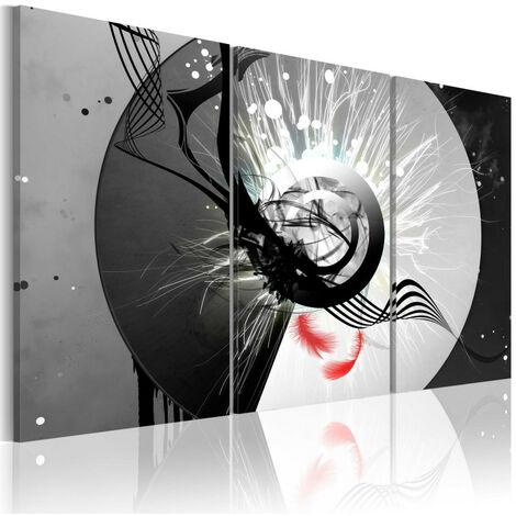 Tableau - Cercle métallique et plumes rouges 120x80