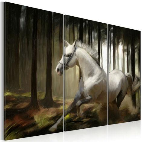 Tableau - Cheval blanc parmis les arbres 90x60
