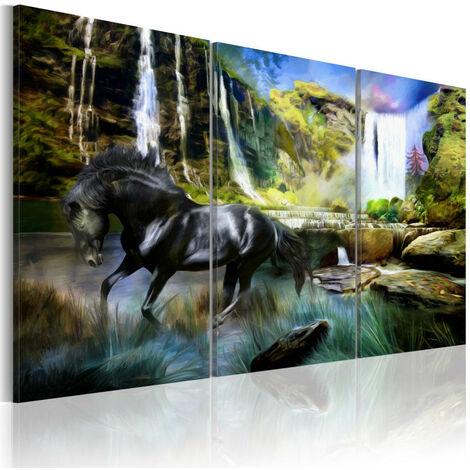 Tableau - Cheval sur fond de cascade bleue 60x40