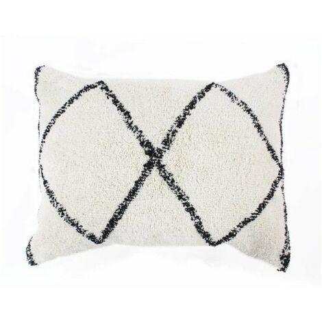 Coussin berbere Box - 60 x 80 cm - Blanc naturel et noir