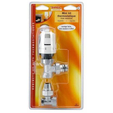 DIPRA Mini kit thermostatique Raccord auto étanche équerre - 15/21