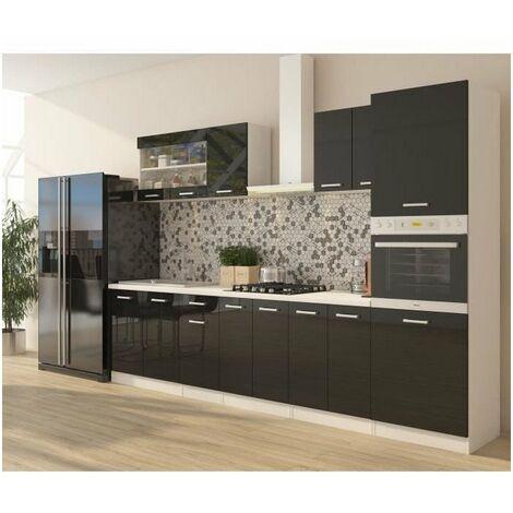 ULTRA Cuisine complete avec colonne four et plan de travail inclus L 300 cm - Noir brillant