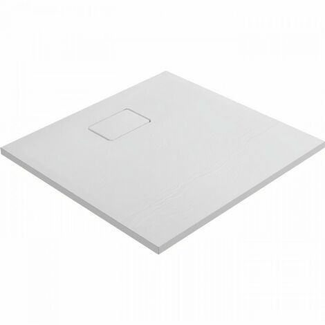 Evier ALLIBERT Receveur de douche effet pierre Terreno - 80 x 80 cm - Blanc