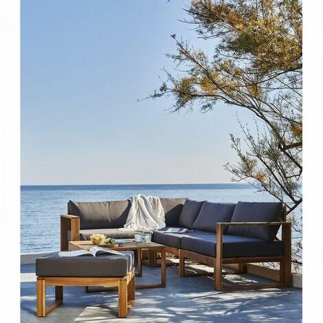 BOCARNEA Salon de jardin LEVATA OTTOMAN en bois d'acacia FSC - 5 personnes - Avec table convertible - Coussins gris anthracite