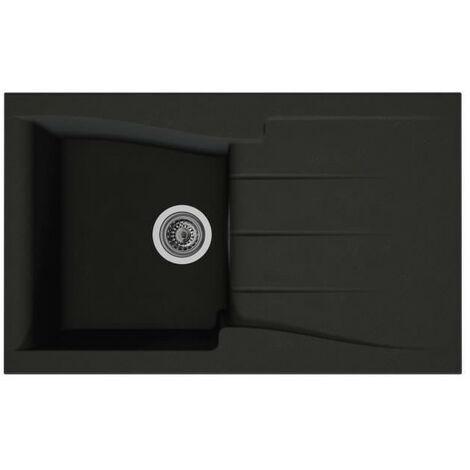 STRADOUR Evier cuisine a encastrer 1 bac + 1 égouttoir Luna - Composite MMC - 81 x 50 cm - Noir