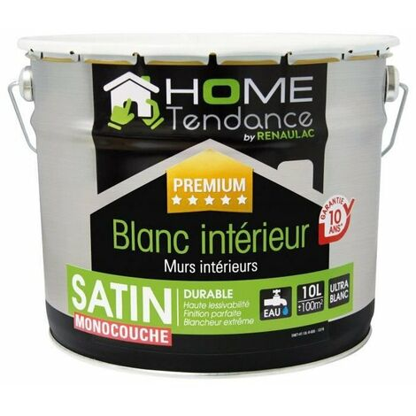 Peinture monocouche murale 10L blanc satin - lessivable - HOME TENDANCE by Renaulac