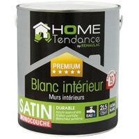 Peinture monocouche murale 2,5L blanc satin - lessivable - HOME TENDANCE by Renaulac