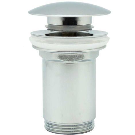 Válvula Clic Clac universal tapón grande. Desagüe Push-up de lavabo y bidet, con acabado en cromo brillo. Tuerca de 1 1/4. Fabricada en latón Kibath