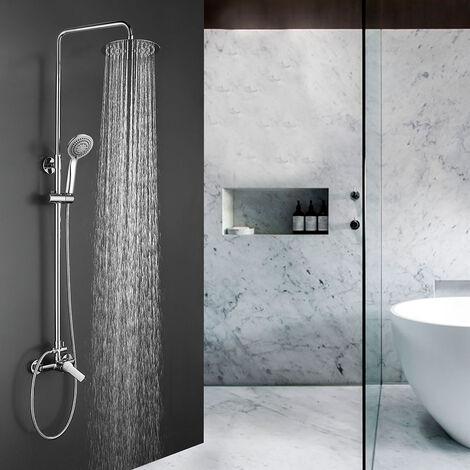 Columna de ducha monomando MON Bluetooth para escuchar música y llamadas, tubo redondo extensible regulable en altura de 80 a 120 cm. Acabados en blanco y cromo brillo. Recambios garantizados Kibath