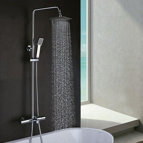 Columna de ducha extralarga GAS con grifería termostática. Tubo regulable en altura de 100 a 150 cm. exclusiva para bañeras. Rociador y ducha de mano cuadrados. Repuestos garantizados Kibath