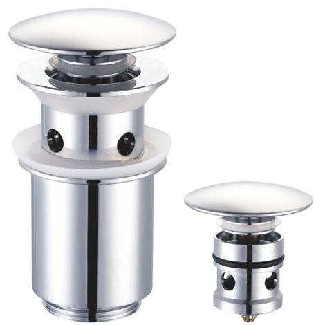 Válvula Clic Clac universal. Desagüe Push-up de lavabo y bidet, con acabado en cromo brillo. Tuerca de 1 1/4. Fabricada en latón Kibath