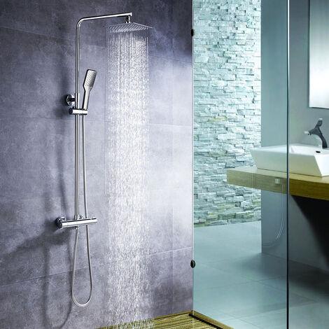 Columna de ducha con tubo redondo extensible de 80 a 120 cm. y grifería termostática con desviador integrado. Incluye ducha de mano y rociador superior cuadrados. Recambios originales garantizados Kibath