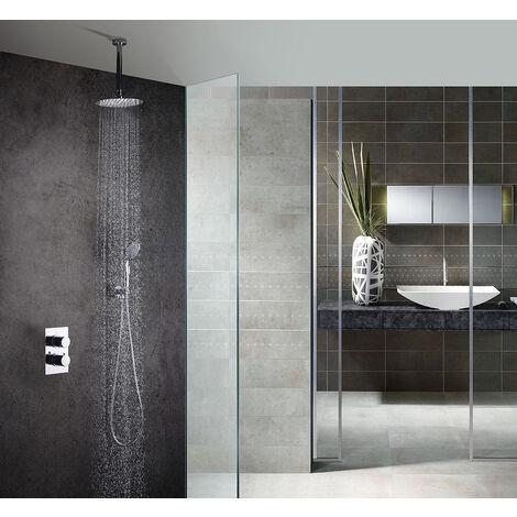 Grifo termostático ducha para empotrar PO salida techo. Incluye soporte con toma agua, flexo PVC plateado, brazo ducha y rociador extraplano. Ducha empotrable con acabado redondeada en cromo brillo Kibath