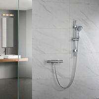 Grifo termostático para ducha ORT con barra y manetas latón. Incluye flexo de acero inoxidable, mango de ducha y barra de ducha Kibath