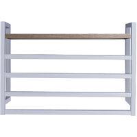 Toallero Secatoallas eléctrico FU con repisa de madera y cuatro barras para toallas. De bajo consumo 60W, fabricado en acero inoxidable acabado en blanco