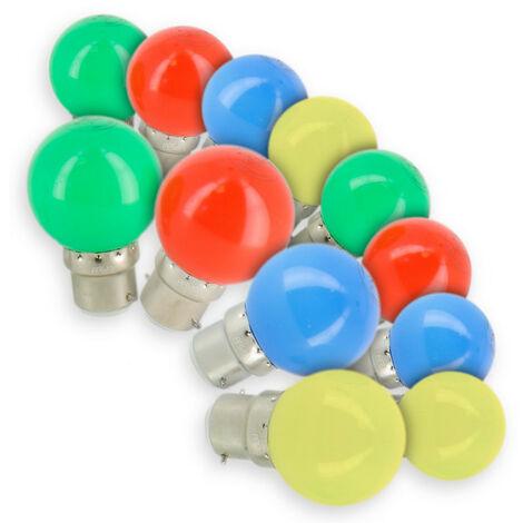 Lot de 12 Ampoules LED B22 Panaché Guirlande guinguette extérieur