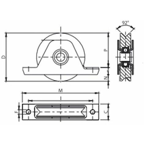 Roue à gorge en V diamètre 120 x 25  pour rail en V avec monture à encastré - 500 Kg
