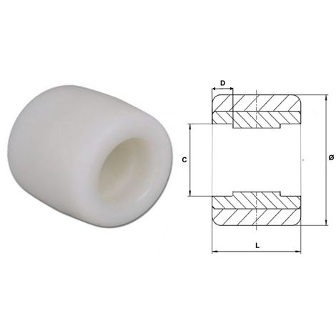 Galet 82 x 70 Polyamide   sans-roulement-cage-47x16