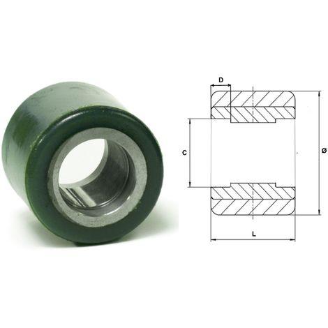Galet 82 x 60 Polyuréthane vert 75° Shore A , corps acier | sans-roulements-cage-47-x-14