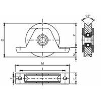 Roue à gorge en V diamètre 100 x 25 pour rail en V avec monture à encastré - 400 Kg