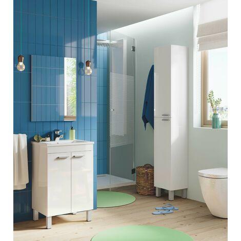 Mueble de baño de pie 50 cm blanco brillo con espejo | Blanco brillo - Con lámpara Led