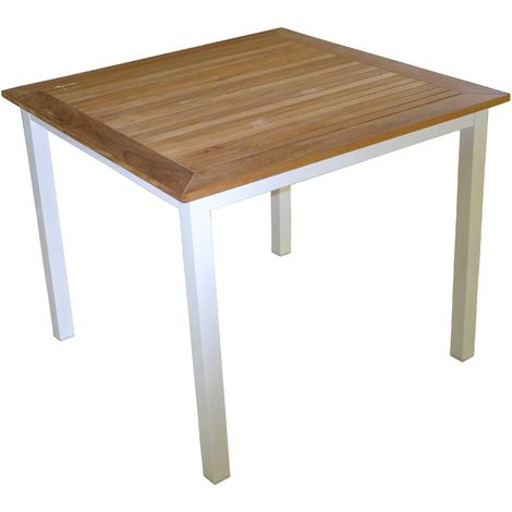 Mesa Calvi 90x90 cm en aluminio y madera de teca   Aluminio