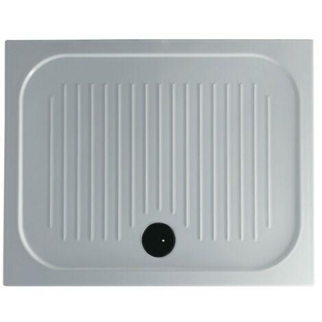 Plato de ducha antideslizante 100x80xH6 cm cerámica Galassia Flat   Blanco