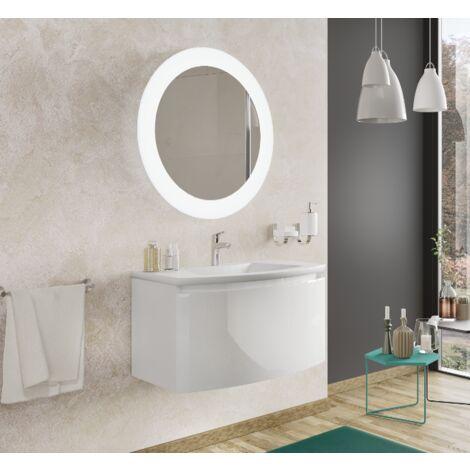 Mueble de baño 80 cm Venere en madera blanca brillante con lavabo de cerámica y espejo | Standard