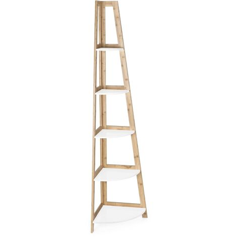 Estantería de esquina 180 cm con estructura de madera de bambú y 5 estantes color Blanco mate   Blanco