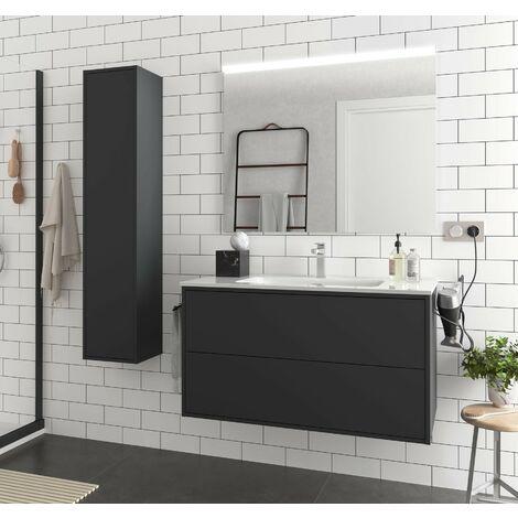 Mueble de baño suspendido 100 cm Ulisse de madera Negro mate con lavabo de porcelana   100 cm - Con espejo y lámpara LED