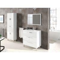 Columna de baño de pie blanco brillante con cuatro puertas y un cajón | Blanco brillo