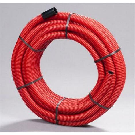 Gaine TPC annelée rouge ou noire - Diamètre : 40 mm - Rouleau de 50 m