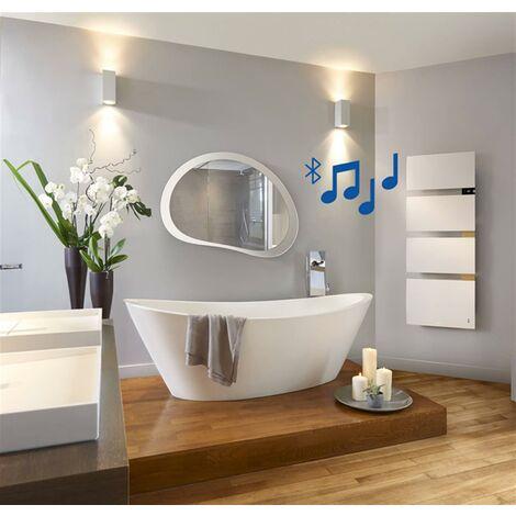 Radiateur sèche-serviette SYMPHONIK - Mat à droite - blanc granité - décors chêne massif