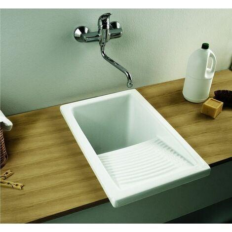 Bac à laver RIBA - Dimensions : 39 x 60 cm - Profondeur de la cuve : 34 cm - couleur : BLANC