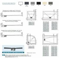 Receveur KINESURF - Bonde centrée sur la largeur - 120 x 80 cm - Bonde centré sur la largeur