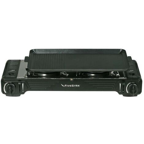 Plancha grill gaz / Réchaud double Piezo 4400 W FIVESTAR 2en1 + Portable avec Mallette