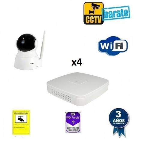 Kit de videovigilancia IP Wifi 4 cámaras motorizadas domo interior 2Mpx óptica fija más grabador NVR de 4 canales, Añadir mas memoria :1TB,Cambiar cables : ,Incluir microfono :
