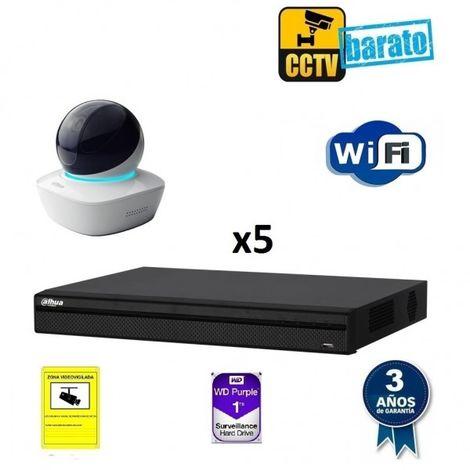 Kit de videovigilancia IP Wifi HD 5 cámaras domo motorizada interior óptica fija más grabador NVR de 8 canales, Añadir mas memoria :1TB,Cambiar cables : ,Incluir microfono :