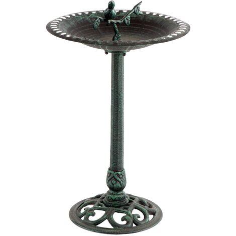 Bassin à oiseaux sur pied en fonte Tournesol - Vert (effet vieilli)