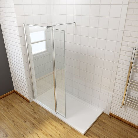 ELEGANT 900mm Frameless Wet Room Shower Screen Panel 8mm Easy Clean Glass Walk in Shower Enclosure with 300mm Return Panel and Support Bar