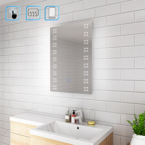 ELEGANT 500 x 700mm Modern Heated LED Illuminated Vertical Rectangle Bathroom Mirror Lights Touch Control Switch with Demister Pad
