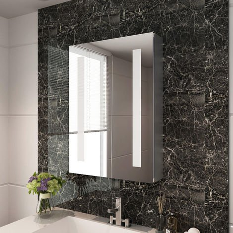 ELEGANT 500 x 700mm Illuminated LED Bathroom Mirror Cabinet Stainless Steel Frame Wall Storage Mirror with Lights