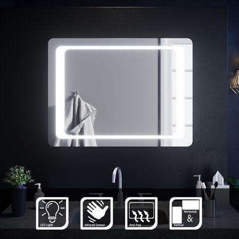 ELEGANT 800 x 600 mm Illuminated LED Bathroom Mirror Light Infrared Sensor + Demister