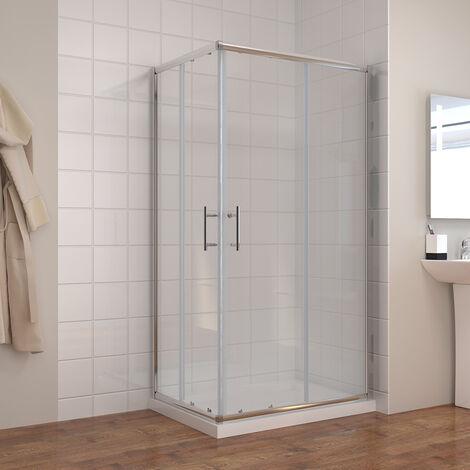 ELEGANT Shower Enclosure Corner Entry 800 x 700 mm Square Sliding Shower Enclosure