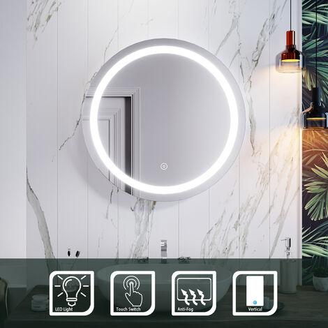 ELEGANT 700 x 700mm Round Illuminated LED Bathroom Mirror Touch Sensor + Demister