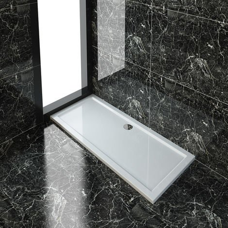 ELEGANT Rectangular 1600 x 700 x 40 mm Shower Tray for Shower Enclosure Cubicle + Waste Trap