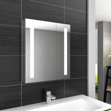ELEGANT Illuminated Bathroom Mirror Cabinet with Lights and Shaver Socket Wall Mounted LED Bathroom Mirror with Shelf 600mm